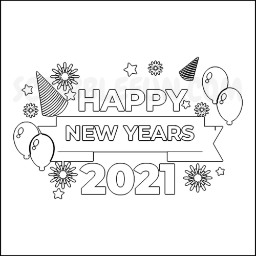 Happy New Year 2021 coloring pages