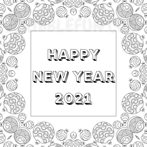 Happy New Year 2021 colouring page