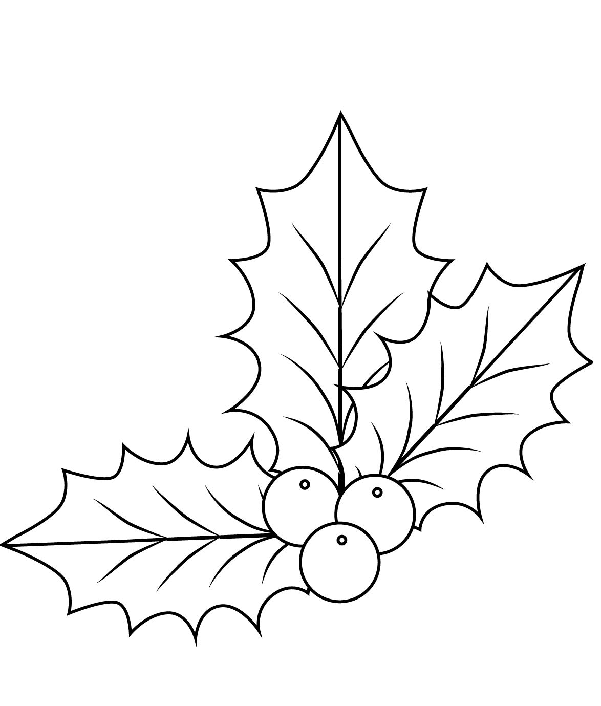 Holly leaves coloring page