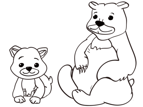 Mama bear with baby bear coloring page