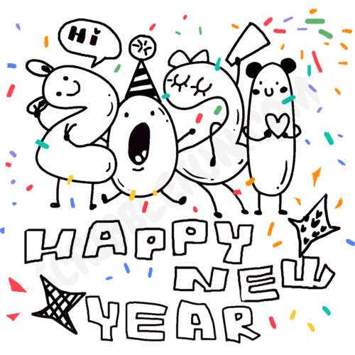 New Year 2021 coloring image