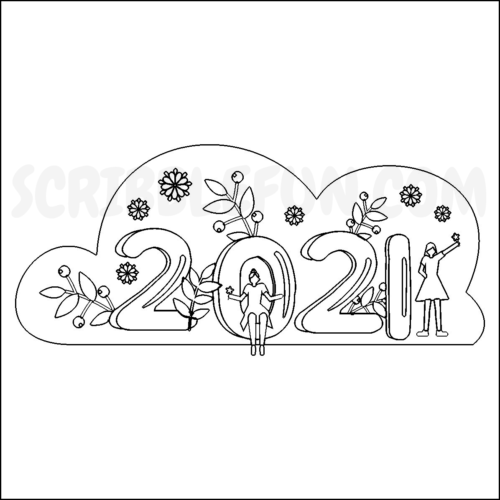 New Year 2021 coloring page printable