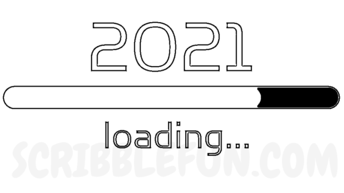 New Year 2021 loading coloring page