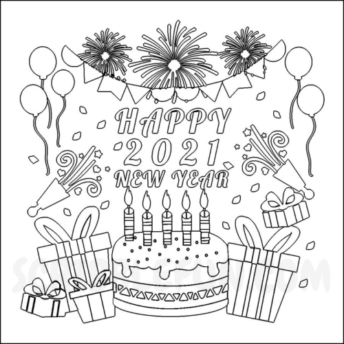 New Year 2021 party coloring page