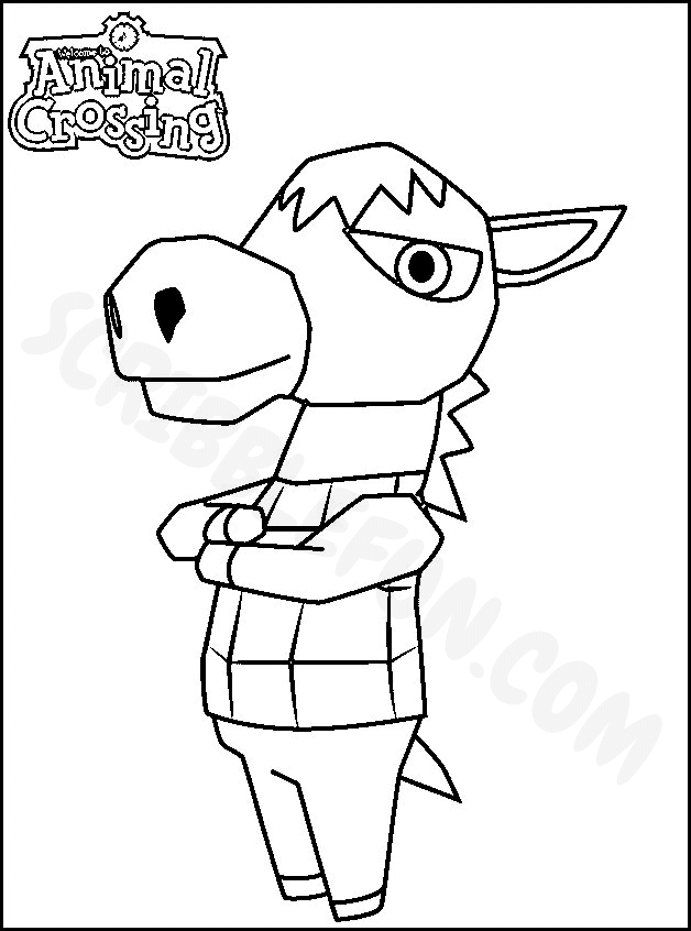 Roscoe from Animal Crossing video game coloring page