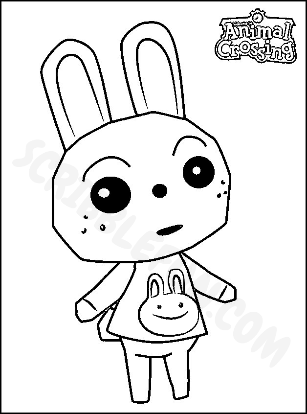 Ruby Peppy from Animal Crossing coloring sheet
