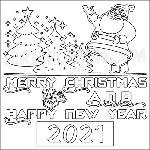 Happy 2021 New Year coloring page