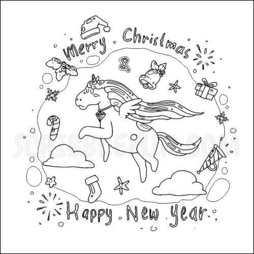 Unicorn wishing happy new year