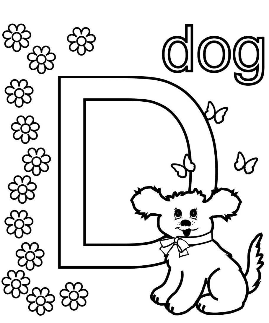Alphabet D coloring page