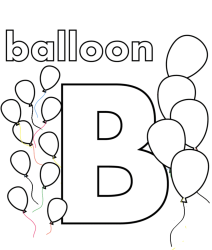 B for Balloon coloring page