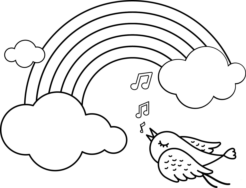 Bird singing near the rainbow
