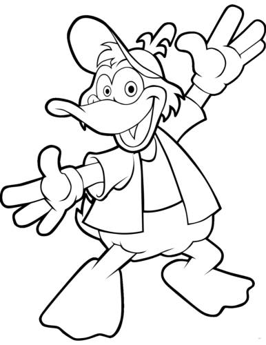Cartoon duck coloring pages