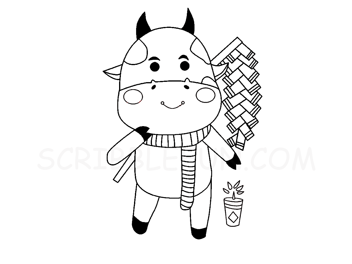 Chinese New Year Ox with fireworks