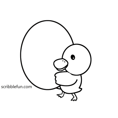 Duckling holding an egg