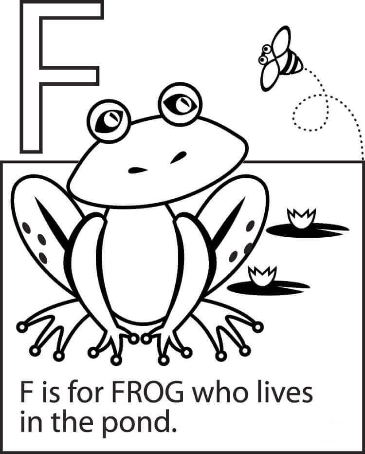 For is for frog coloring page