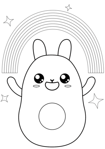 Kawaii Rainbow coloring page