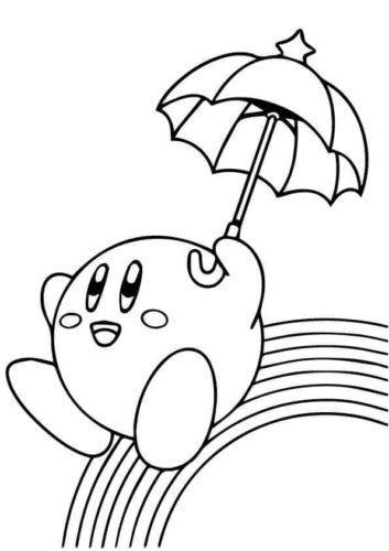 Kirby sliding on the rainbow