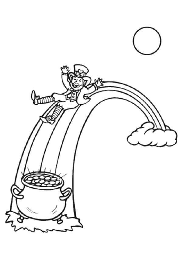 Leprechaun and rainbow coloring page