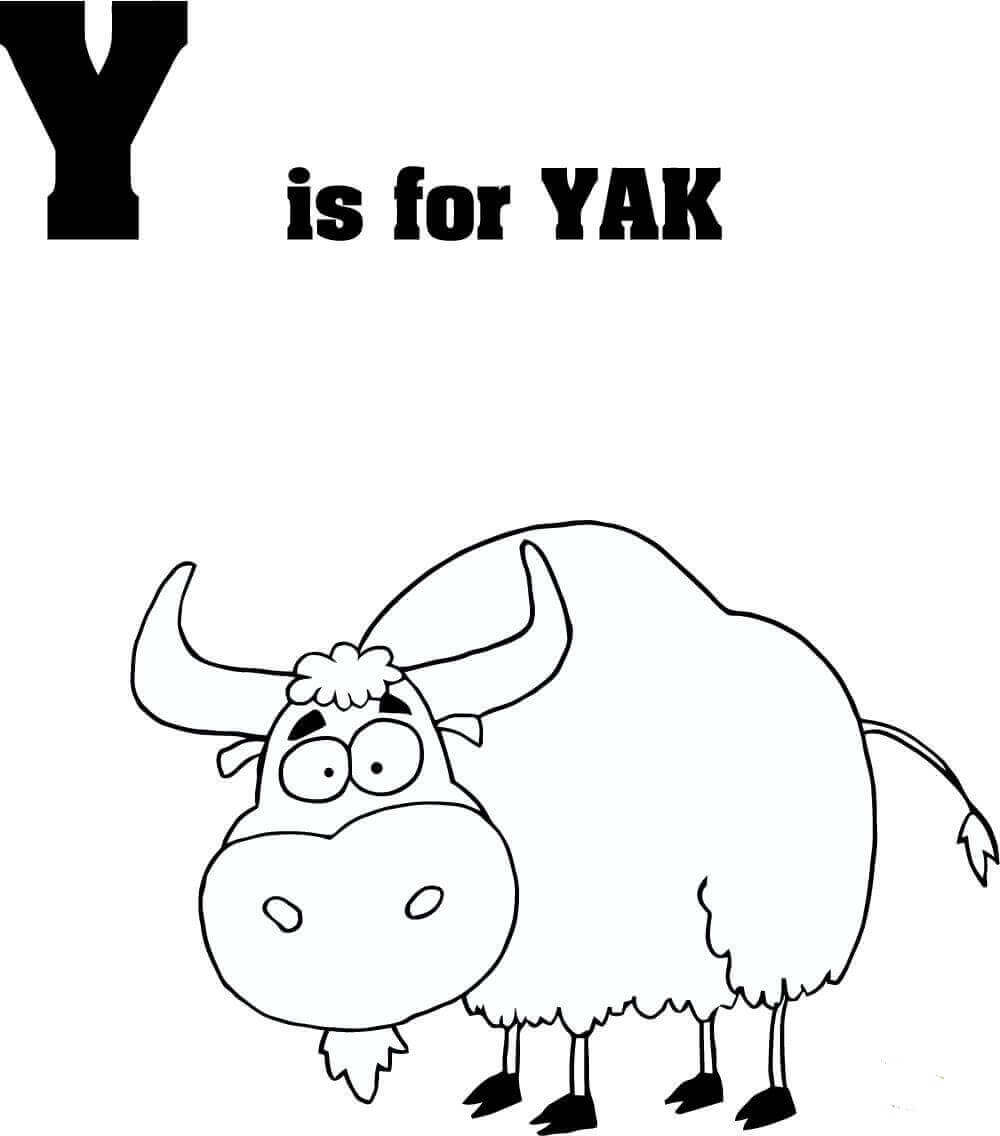 Letter Y is for Yak coloring page