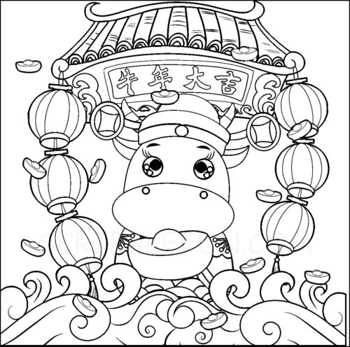 Lunar New Year 2021 colouring pages