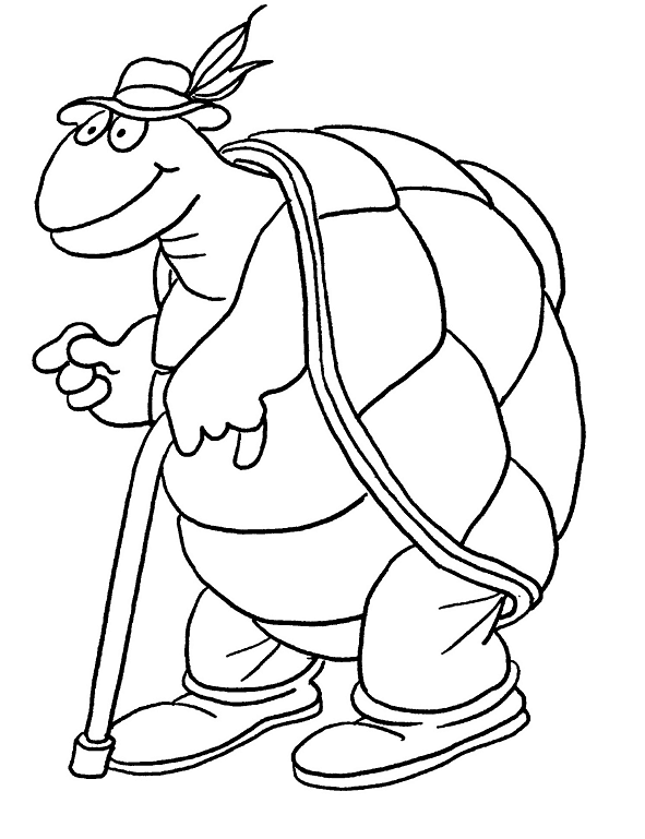 Old turtle coloring page