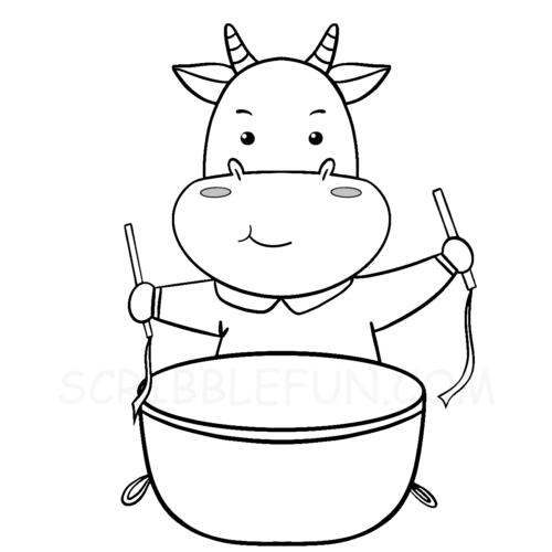 Ox playing a drum