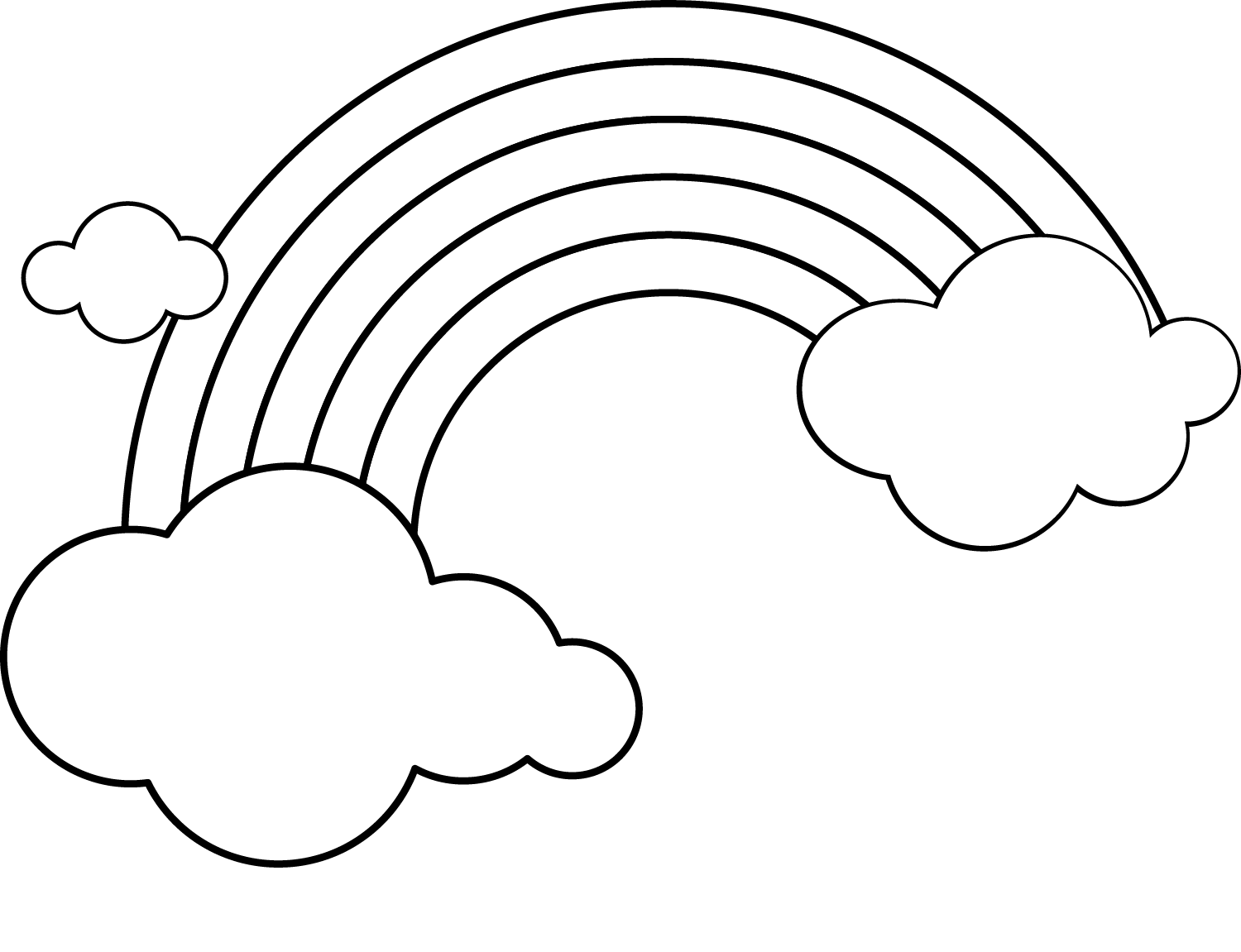 Rainbow and clouds coloring page