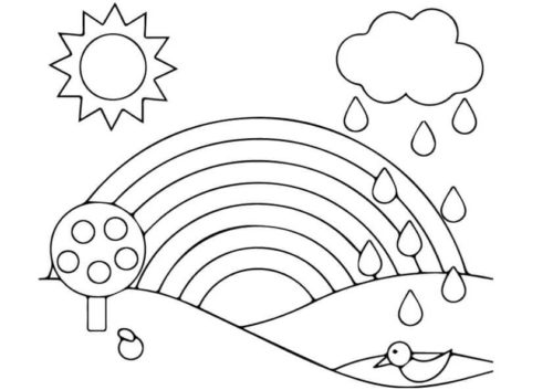 Rainbow coloring page for preschoolers