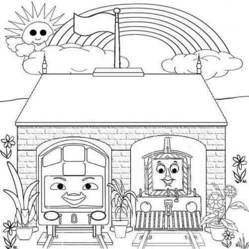 Rainbow over Thomas and Friends locomotives