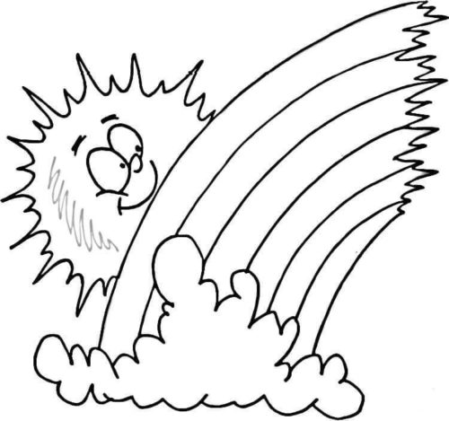 Rainbow sun and cloud coloring page