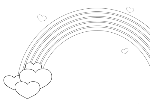 Rainbow with hearts coloring page