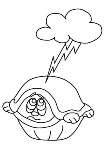 Scared turtle coloring page