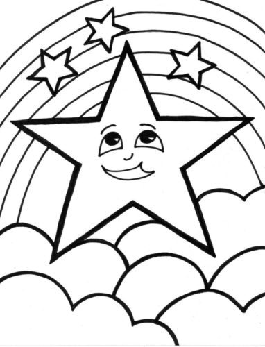 Stars and Rainbow coloring page