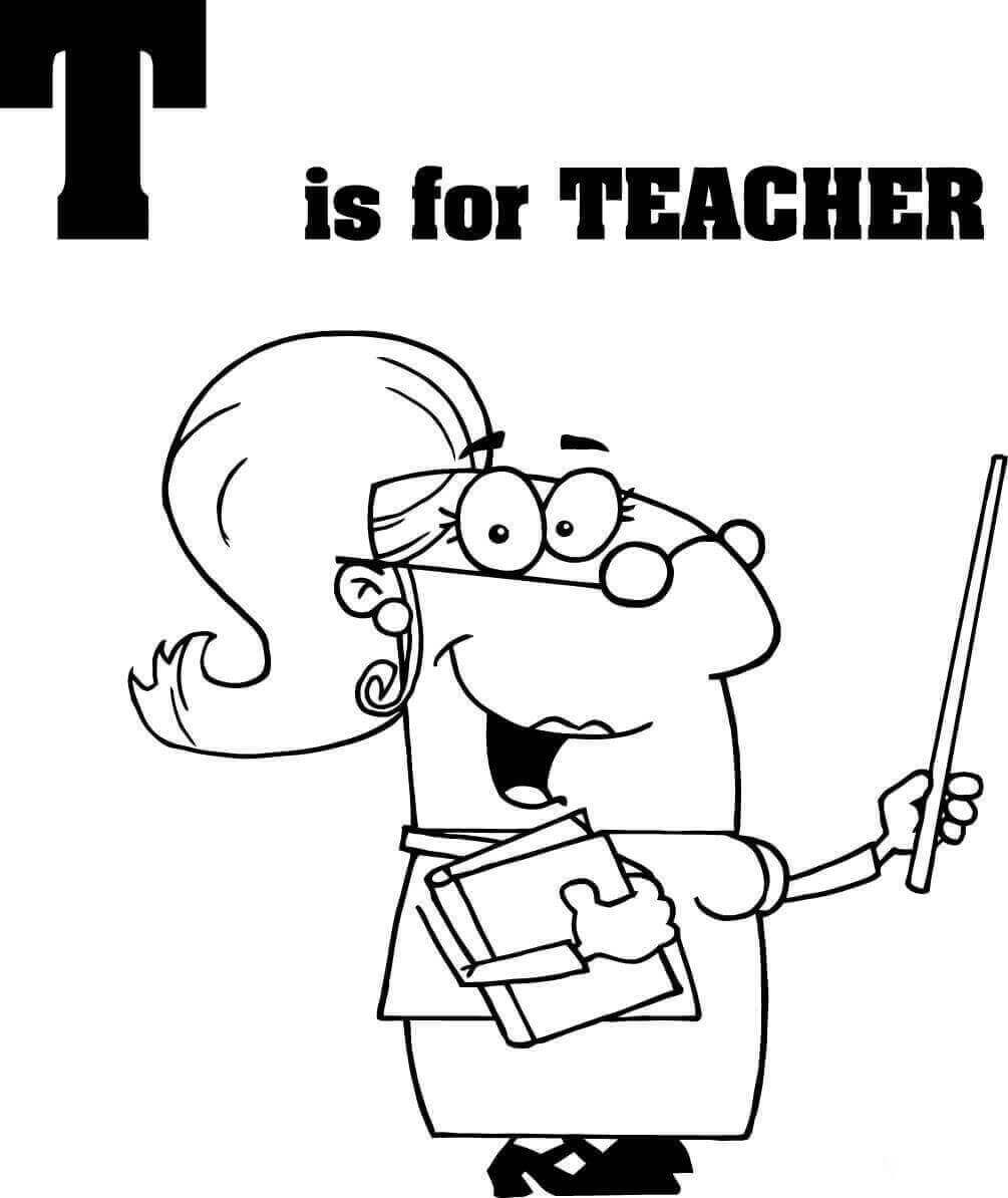 T is for Teacher colouring page