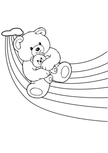 Teddy bear on the rainbow coloring page
