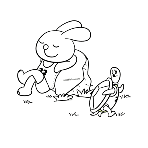 Tortoise and rabbit race story coloring page