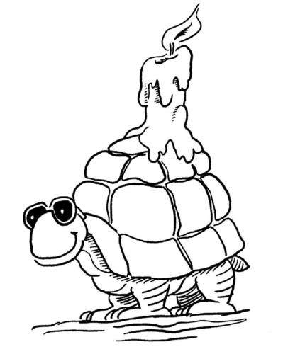 Turtle carrying a candle on its back
