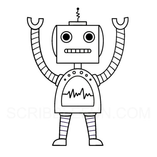 Robot coloring page for preschoolers