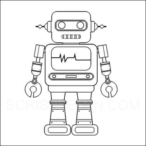 Robot coloring picture