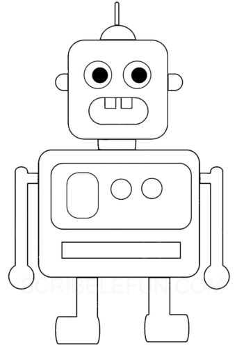 Robot coloring picture to print