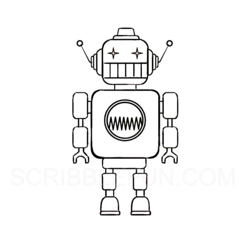 Robot colouring page
