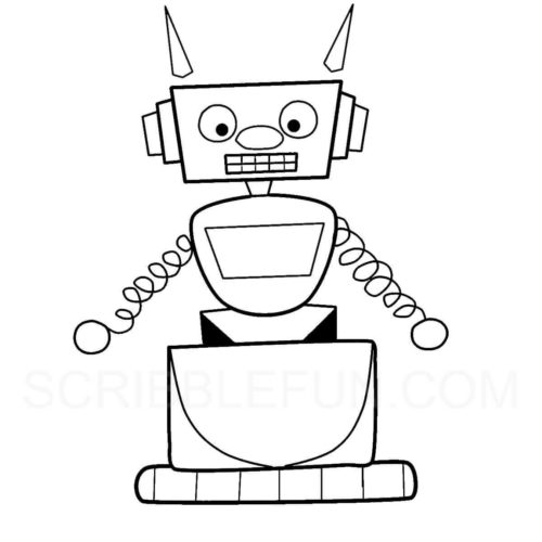 Robot colouring pages to print