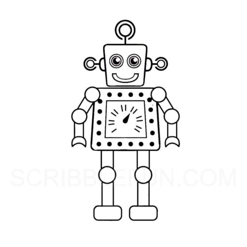 Robot with a timer at the center