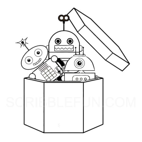 Robots coloring page