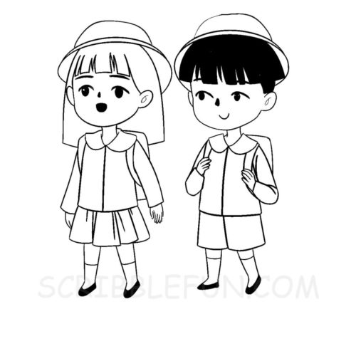 Japanese school kids coloring page