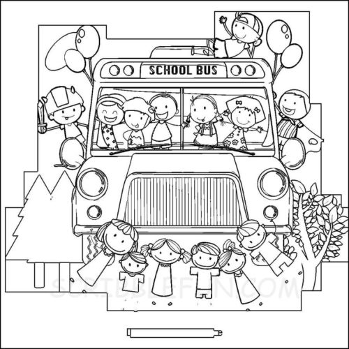 Kids in school bus coloring page