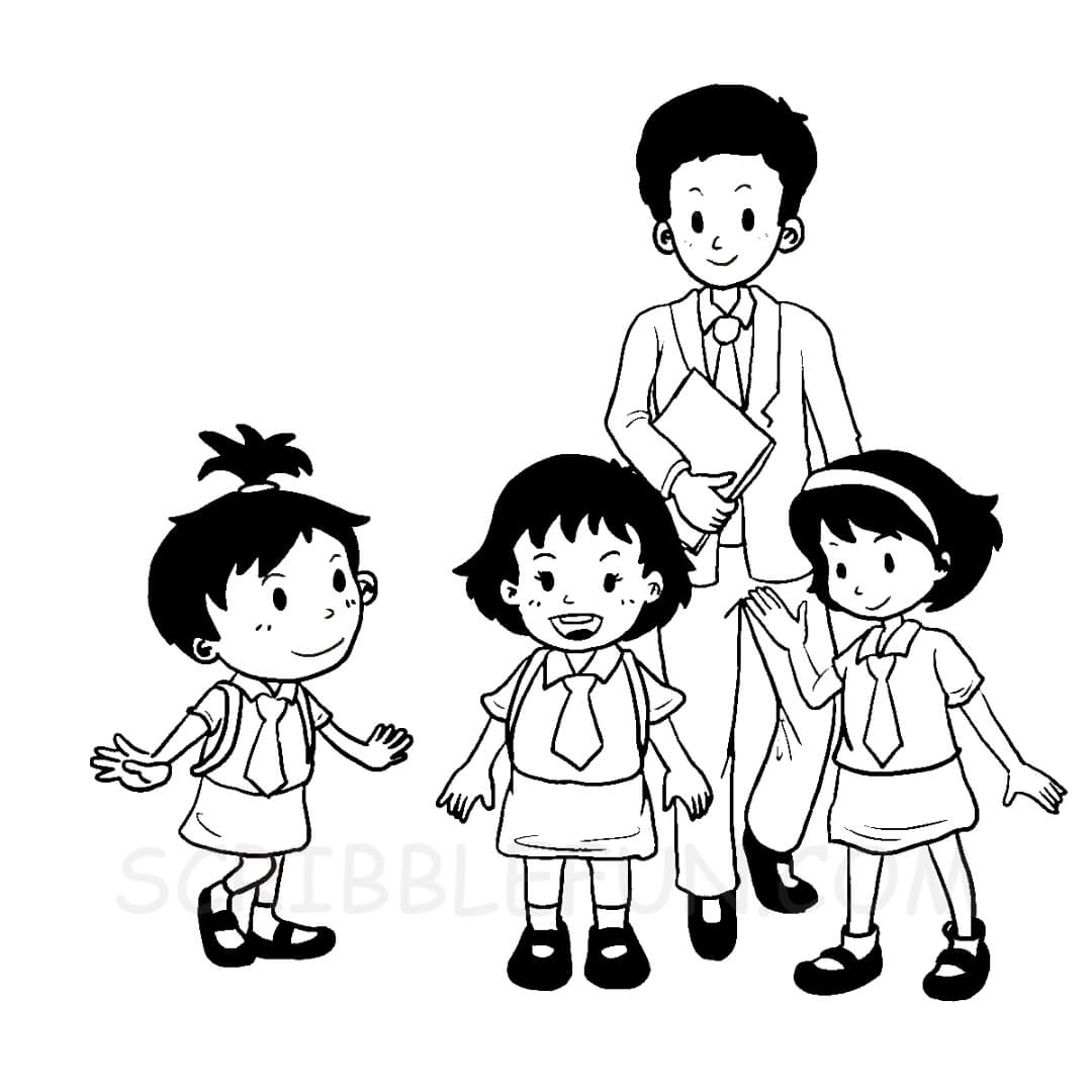 Pupils with teacher coloring page