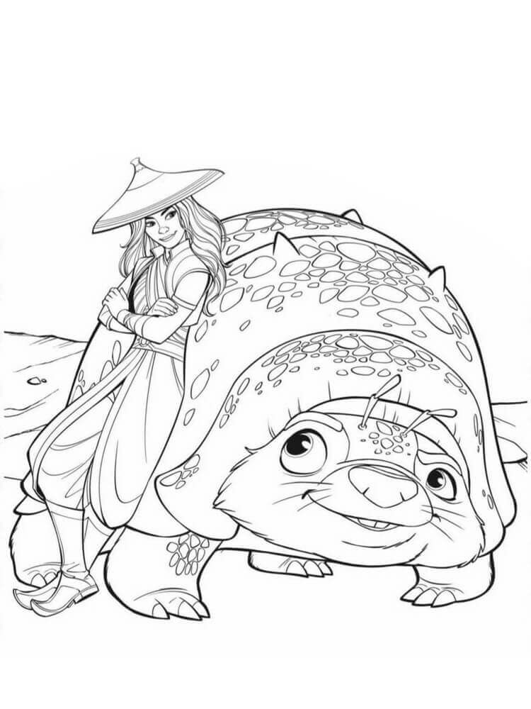 Raya and Tuk Tuk coloring page