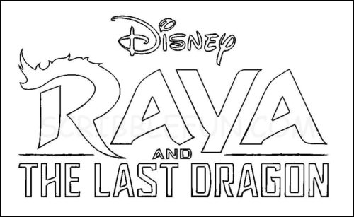 Raya and the Last Dragon logo and poster coloring page