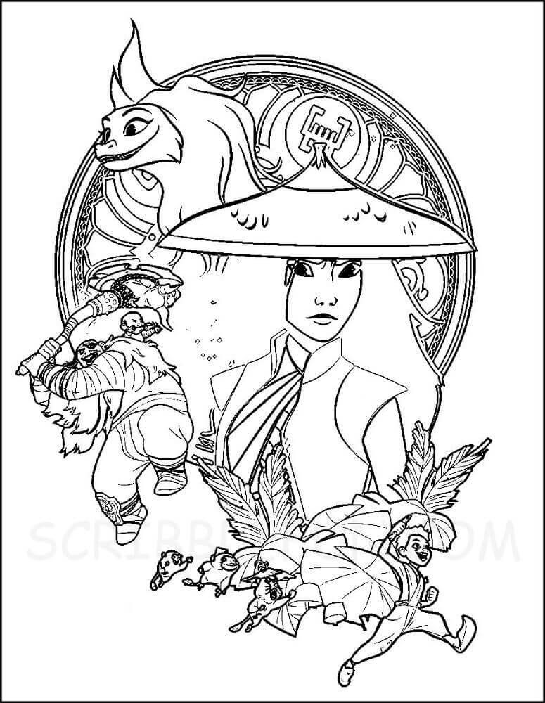Raya and the last dragon coloring pages